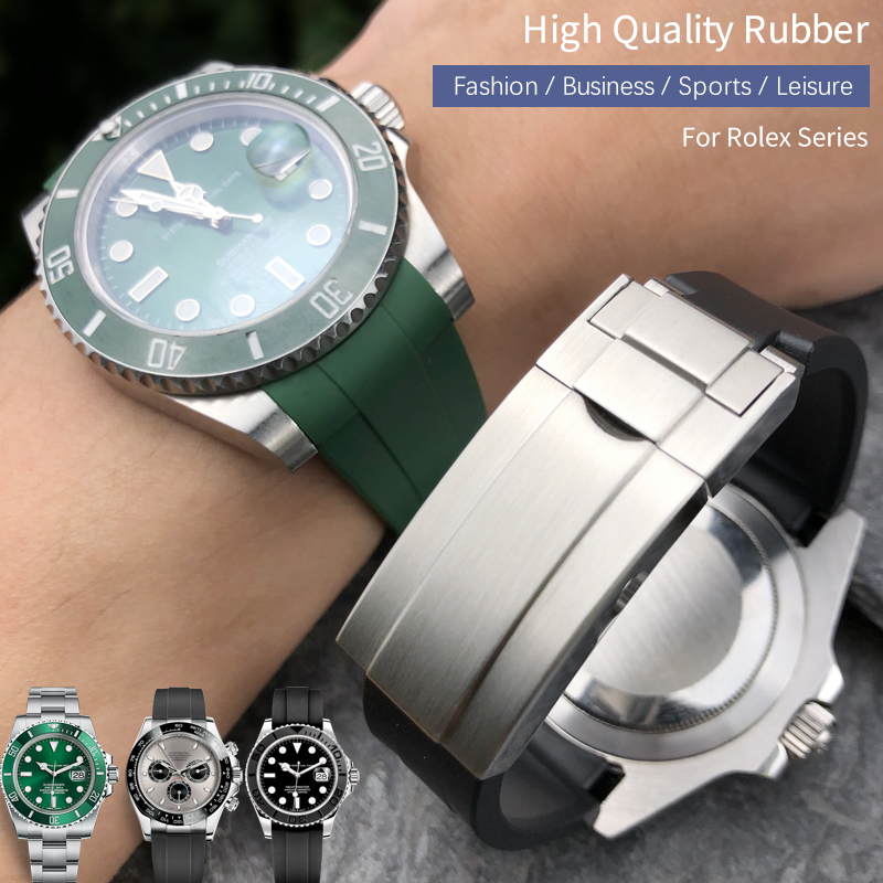 19/21mm 20mm Hight quality Watch Band Fit for Rolex Daytona Submariner Oysterflex GMT Deepsea for Explorer Rubber silicone Strap