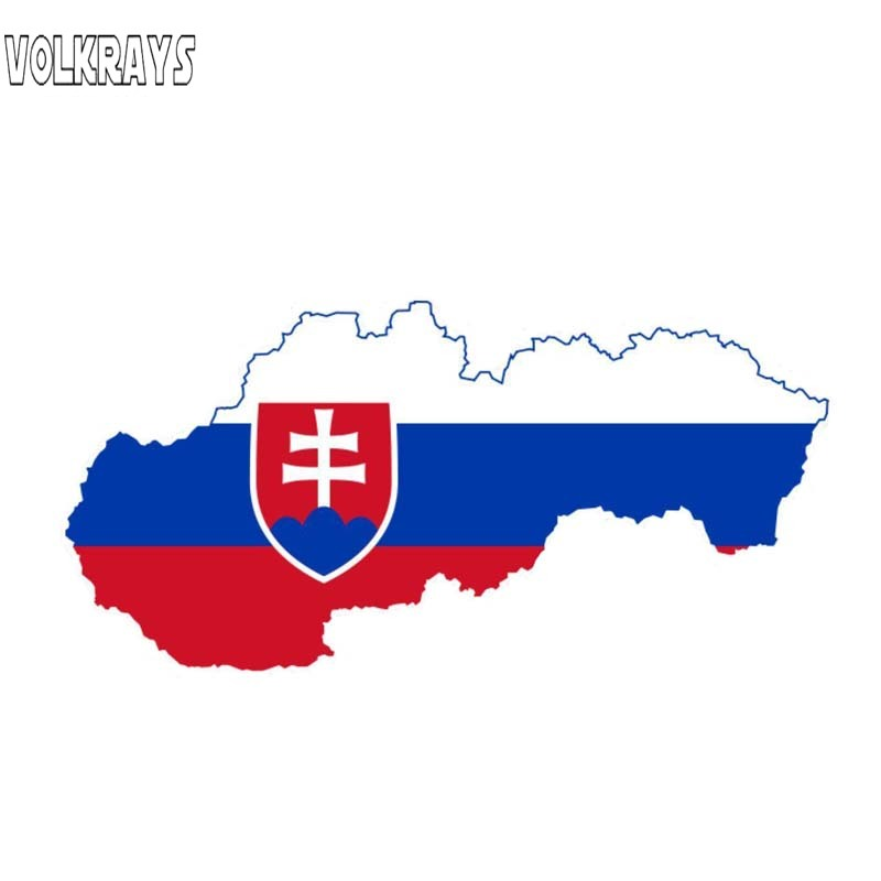 Volkrays Creative Car Sticker Slovakia Map Flag Motorcycle Accessories Waterproof Cover Scratches Sunscreen Vinyl Decal,6cm*13cm