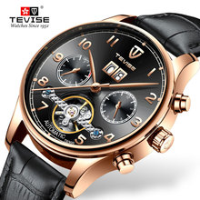New TEVISE Black Dial Men Watch Luxury Mechanical Self-wind Automatic watch Wristwatch Sport Leather Clock Relogio for Gift parnis pilot iin seriers luminous mens leather watchband fashion automatic self wind mechanical watch wristwatch