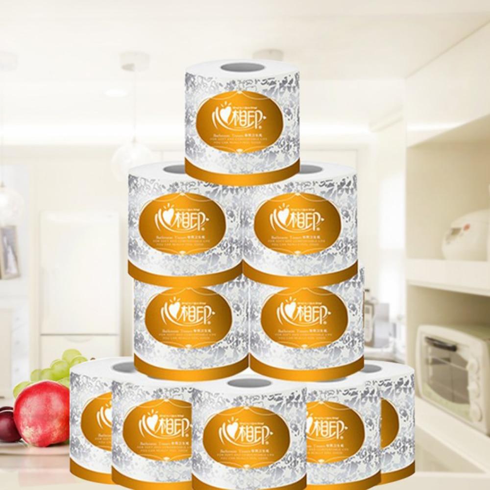 10 Rolls 3 Ply Toilet Paper Bulk Bath Tissue Bathroom White Soft  Skin-Friendly Paper Hotel Salon Household Cleaning Tissue