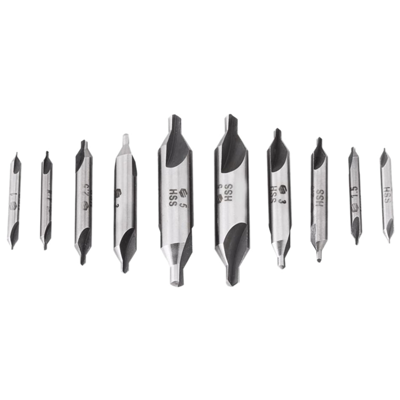 10Pcs/Lot Combined Countersink Bits 60 Degree Center Drill Set Hss Metal Drilling Power Tools Lathe Milling Cutter Tool