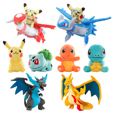 Various Styles Pokemoned Plush Doll Pikachued Squirtle Charmander Bulbasaur Snorlax Stuffed Toy Kids Gifts Birthday Present