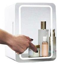 8l mini refrigerador de maquiagem portátil cosméticos geladeira compacto painel vidro led luz mais quente freezer para casa carro duplo uso
