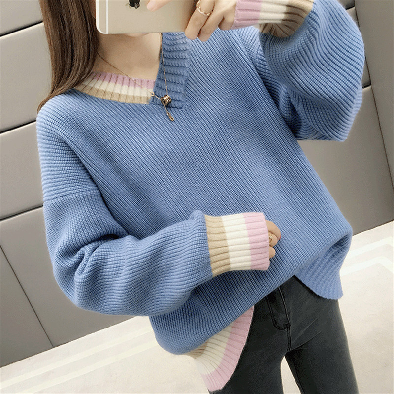 Knitted Sweater Women Beige Blue Loose Sweaters 2019 New Autumn Winter Korean Fashion V Neck Slim Chic Bottoming Clothing CX1008 in Pullovers from Women 39 s Clothing