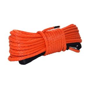 """Image 1 - Linha alaranjada do guincho de 6mm * 15m atv, 1/4 """"corda sintética para offroad, cabo do guincho do barco"""
