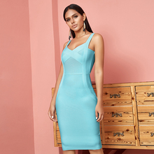 2019 Newest Summer Celebrity Party Bodycon Bandage Dress Women Spaghetti Strap V Neck Sexy Night Out Club Dress Women Vestidos