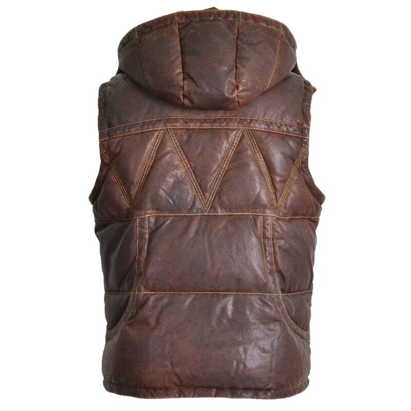 2020 Men's Hooded Down Vintage Italy Sheepskin Genuine Vest Men Winter Sleeveless Leather Coat Male