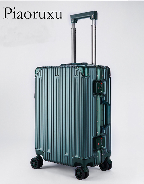 """Retro Rolling Luggage Spinner Aluminum Frame Travel Bag Women Vintage Trolley 20""""22 inch Men Carry On Suitcases Wheel"""