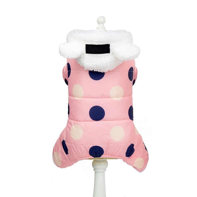 Pet Dog Clothes Winter Dog Hoodie Jumpsuit Small Dog Dot Printed Jacket Clothes Cute Fleece Ear Design Cotton-padded Coat 6