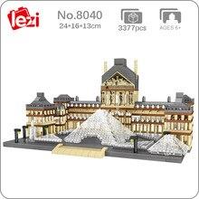 Lezi 8040 arquitetura mundial paris museu do louvre 3d modelo diy mini blocos de diamante tijolos de brinquedo de construção para crianças presente sem caixa