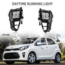 LED DRL Scheinwerfer für Kia Picanto 2017 2018 2019 2020 Tagfahrlicht Nebel Lichter Nebel Licht Nebel Lampe Abdeckung grill Rahmen