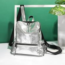 Womens Backpack 2019 New Fashion Summer School Bag for Teenage Girls Back Pack Silver High Quality Backpack PU Bagpack Female