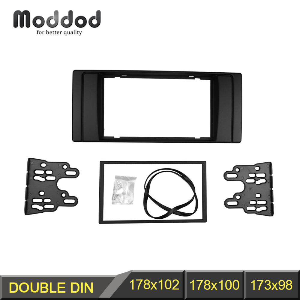 Doble Din Radio Fascia para BMW Serie 5 E53 E39 CD DVD GPS Stereo Panel Dash Mount Trim Kit Interface Bisel Frame