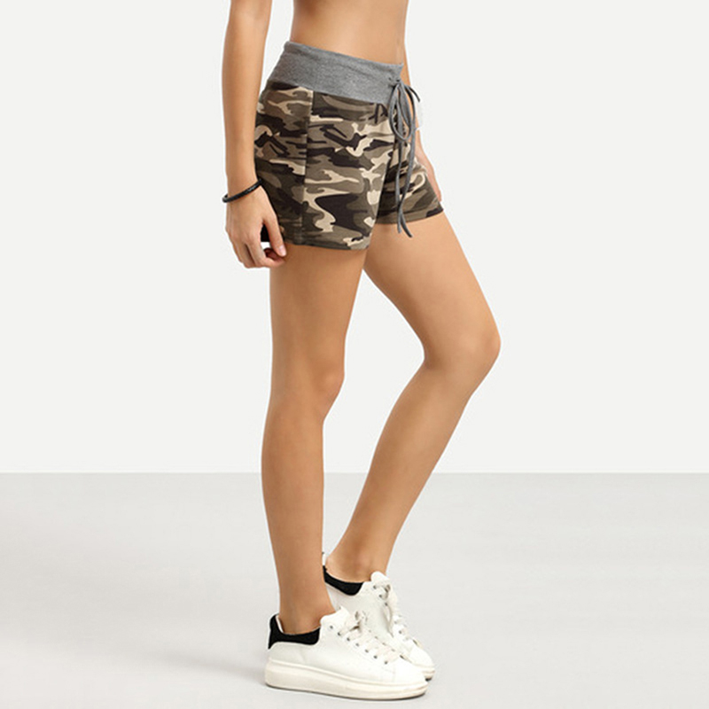2019 Summer New Female Fashion Camouflage Print Shorts Women Cotton Casual Lace Up Camo Cargo Shorts Army Military Hot Shorts