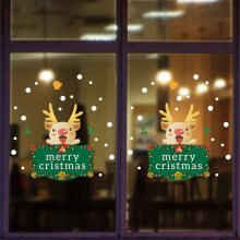 Merry Christmas Window Glass Paste Sticker Snow Deer