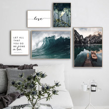 Scandinavian Boat Lake Canvas Painting Blue Wave Nordic Poster Love Quotes Posters And Prints Landscape Art Home Decor