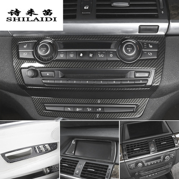 Car Styling Carbon fiber Interior navigation Decoration Strip Frame Cover Trim Sticker For BMW X5 X6 E70 E71 E72 SAV Accessories image