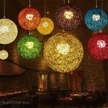 Modern Hemp Pendant Lights Nordic Rattan Art Restaurant Bar