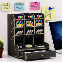 Office Desk Organizer Desktop Pen Pencil Holder Container Storage Box Portable with Drawer JHP Best
