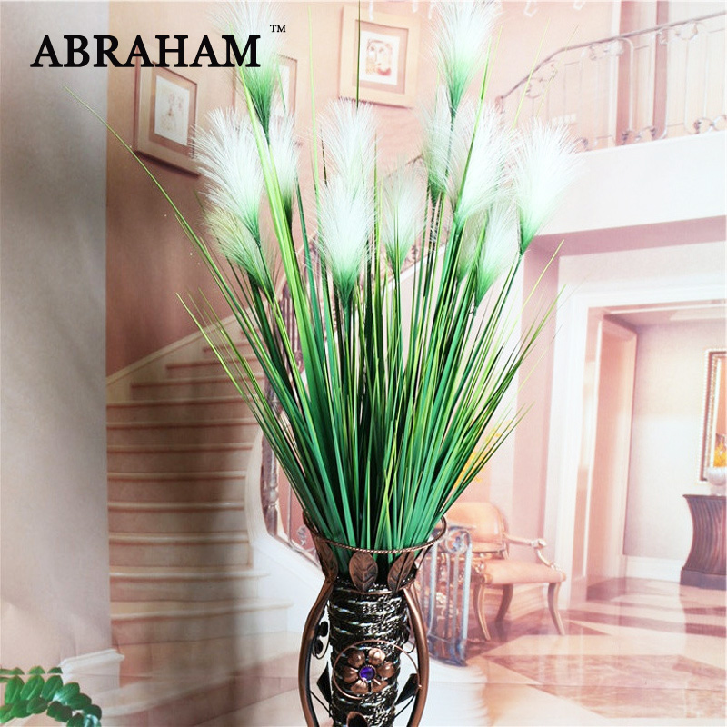 93cm 7 Heads Silk Onion Grass Large Artificial Tree Fake Reed Bouquet Wedding Flower Plastic Autumn Plants For Home Party Decor