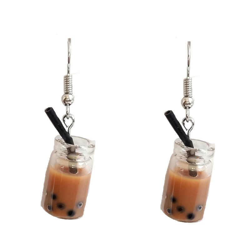 Mutiara Bubble Milk Tea Drop Anting-Anting Plastik Teh Susu Menjuntai Anting-Anting Makanan Minuman Imitasi Wanita Lucu Lucu Perhiasan