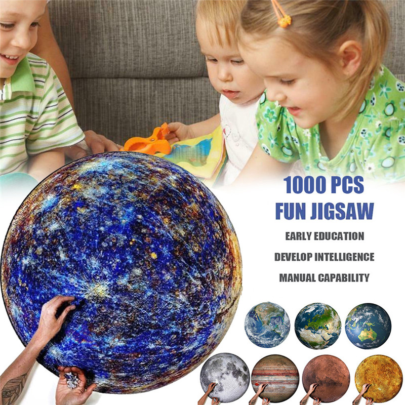 Round Puzzle Moon/Earth Puzzle 1000 Pc Difficult For Adults Children Planet Puzzle Educational Toys Kids Gifts