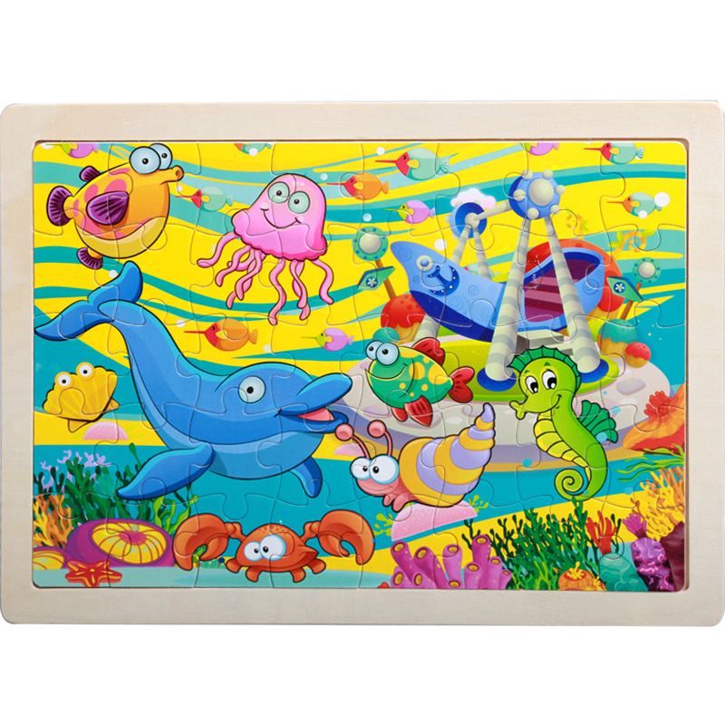 40 Pieces Kids Wooden Puzzle Board Toy Fun Cartoon Animal Jigsaw Boy Girl Baby Early Educational Learning Toys for Children Gift 14
