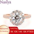 Женское Обручальное кольцо с цветком NASIYA, обручальное кольцо с ореолом в форме цветка, розовое золото 14 к, обручальное кольцо с круглой огра...