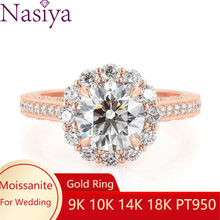 NASIYA Flower Shape Halo Engagement Ring 14k Rose Gold Center Round Cut 1ct 6.5mm EF Color Moissanite Fine Jewelry For Women