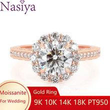 NASIYA çiçek şekli Halo nişan yüzüğü 14k gül altın merkezi yuvarlak kesim 1ct 6.5mm EF renk Moissanite ince takı kadınlar için