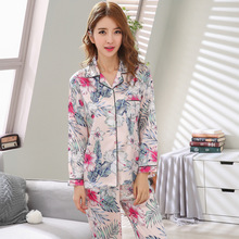 Simulation silk pajamas sets turndown long-sleeved trousers two-piece ladies safflower Leaves print satin home service sleepwear