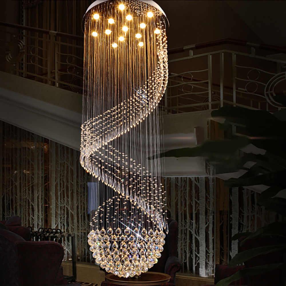 Современная лестница светодиодный Кристалл арматура для люстры для отеля лобби фойе мяч форма дождь капля Лофт длинная Подвесная лампа