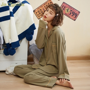 Image 2 - Minimalist Style Pyjamas Women 2020new Spring Fall Cotton Womens Two Piece Plus Size Loose Korean Style Home Clothes Cotton Pjs