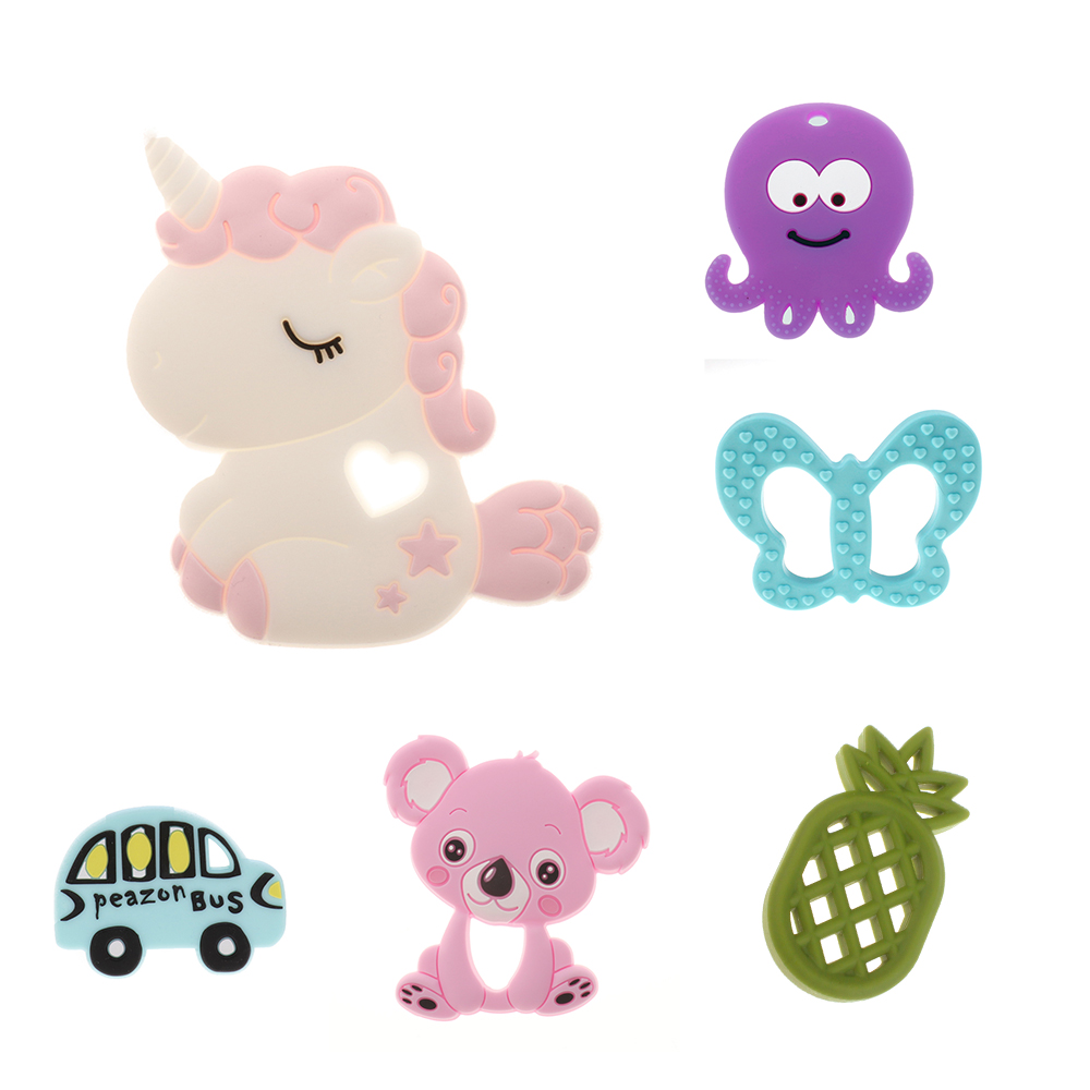 ATOB Silicone Teethers Animal Koala Baby Ring Teether Silicone Chew Charms Baby Teething Gift Toddler Toys Silicone Teething