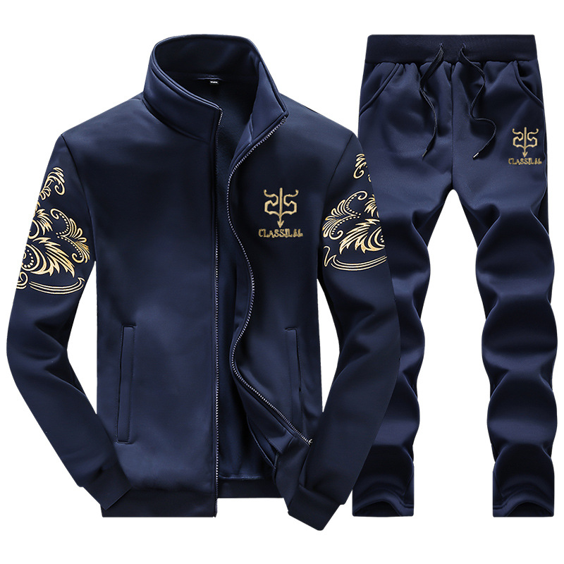 Men Leisure Set Youth Stand Collar Spring And Autumn Men's Wear Fashion & Sports Embroidery Hoodie Coat Fashion