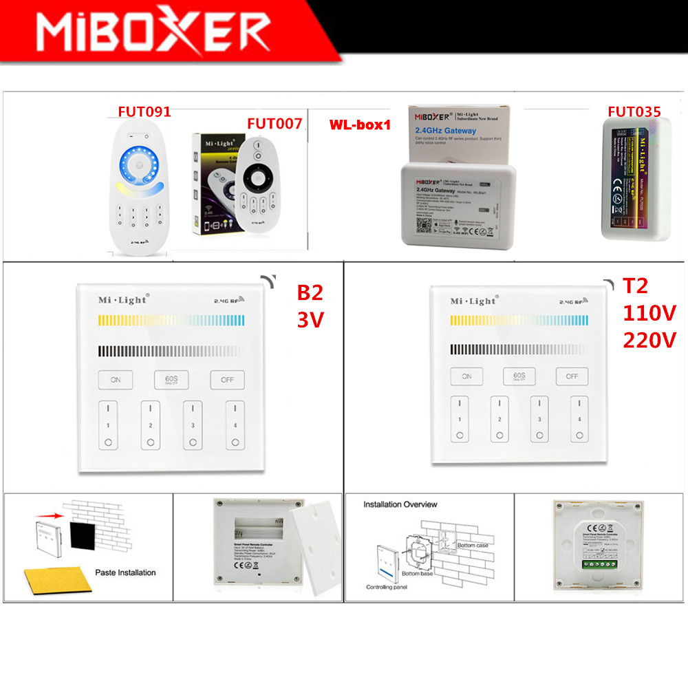 Miboxer B2/T2 4-Zone Brightness Smart touch Panel;FUT035 CT led strip Light dimmer;WL-Box1 WiFi iBox Smart Controller image