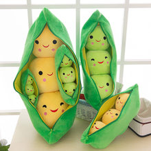 20-90cm Lovely Smile Peas Pod Creative plant pillow cushion plush fruit vegetables food Anti-stress girl hobby Children toy gift(China)