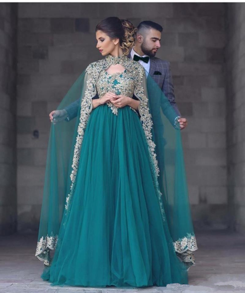Gorgeous 2019 Teal Tulle Arabic Dresses Evening Wear With Pretty Lace Appliques High Collar Wraps Formal Gowns Custom Made