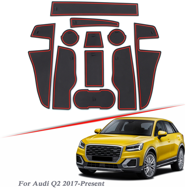 11pcs Car Styling Gate slot pad For Audi Q2 2017-Present Silica Gel Door Groove Mat interior Non-slip dust Mat Auto Accessories