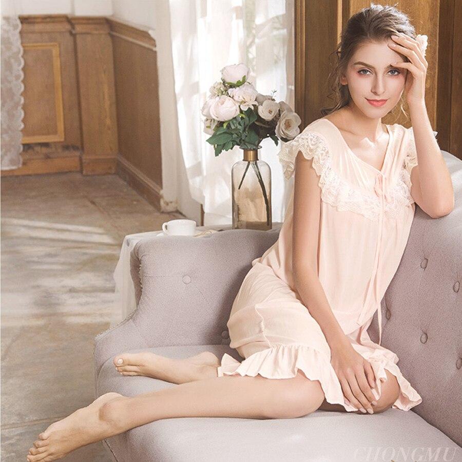 Lace Trim Ruffle Nightgown Contton Sleepwear Cute Nightdress Vintage Nightwear  Casual Nighty