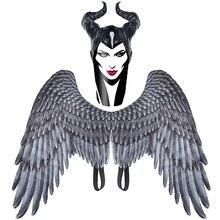Maleficent chifres máscara asas cosplay adereços chapelaria preto rainha capacete boné adulto/criança anjo demônio asas festa de halloween headwear