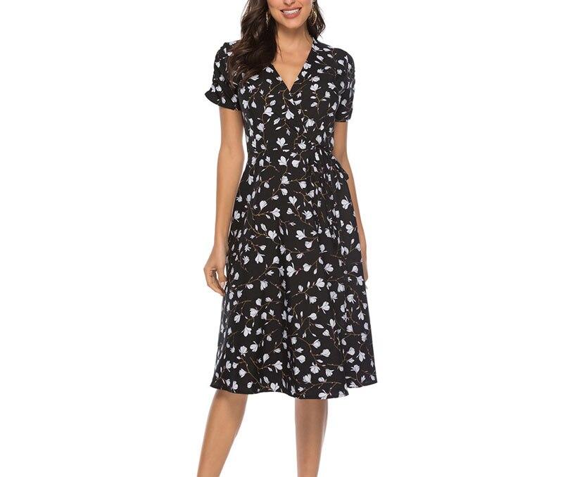 2021 Summer Elegant Short Sleeve Chiffon Dress Women Floral Printing Vintage A-Line Bohemian Beach Midi Sundress Plus Size 7