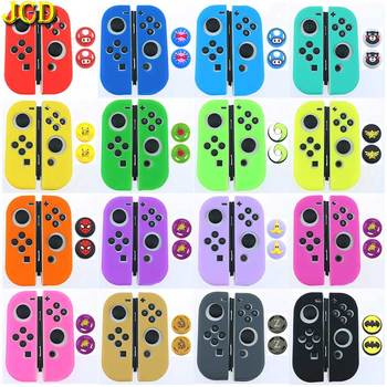 JCD Silicone Joycon Cover For Nintend Switch Antislip Rubber Skin Protective Case + 2 Thumb Grip Caps For NS Joy-Con Controller ivyueen 5 in 1 for nintend switch ns console handle grip protective cover with 4 thumb stick caps case for joy con controller