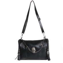 Womens Pu Leather Punk Rock Handbag Satchel Skull Rivet Tassel Shoulder Bag цена 2017