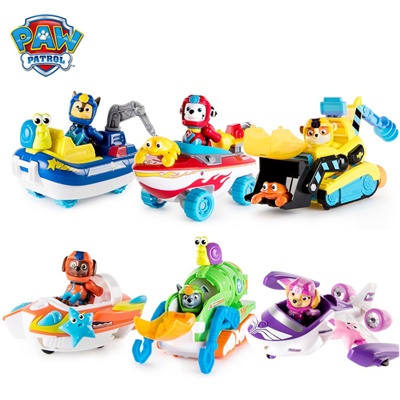 Genuine Paw Patrol Sea Rescue Vehicle Toy Set Ryder Chase Skye Rocky Anime Action Figure Spin Master Toys Children Xmas Gift
