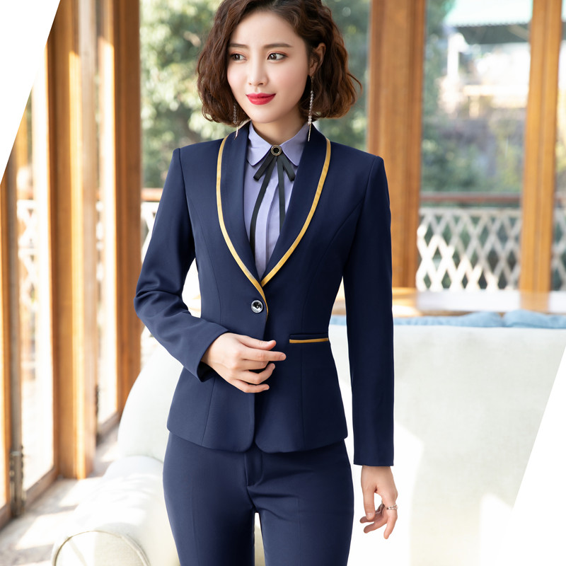 Women's Clothing Single Buckle Trouser For Women Jacket Pants Suit Office Business Ladies Suits Blazer Set Women Suits