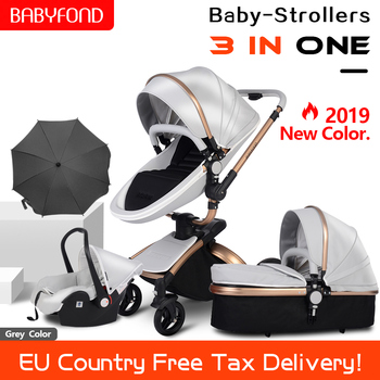 High landscape Leather 3 in 1 Baby Stroller Two Way Suspension 2 in 1 Stroller EU Safety Car Seat Newborn Bassinet Send Umbrella image
