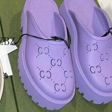 Pantoufles à plateforme en cuir véritable pour femmes, chaussures d'extérieur, de plage, de luxe, plates, à bout rond, été