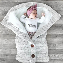Blanket Wrap Swaddling Stroller Sleeping-Bag Button-Knit Infant Toddler Newborn-Baby