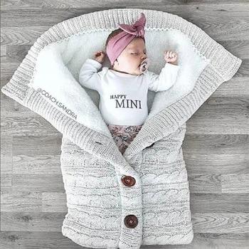 Vastsündinud beebi talvel soojad magamiskotid imiku nööbiga kootud mähkimispakend mähkimisvankriga mähik väikelapse tekiga magamiskotid